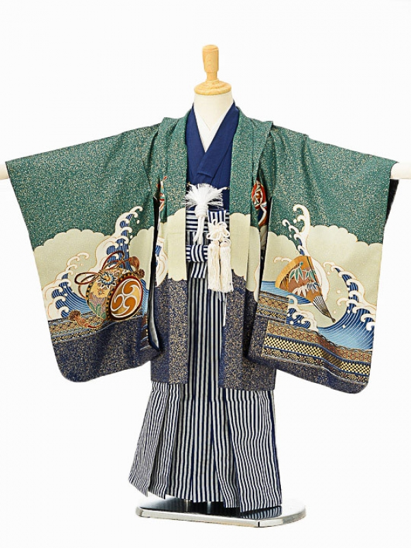 七五三(5歳男袴)sftm078緑富士宝船/紺縦縞