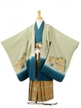 七五三(7歳男袴)sftm140若葉色金箔城/蜀江