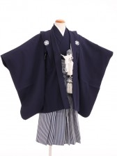 七五三(3歳男袴)sftm027しぶ紺/しぶ紺縦縞