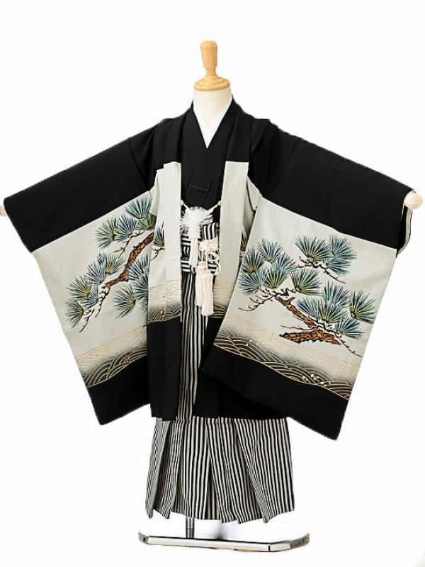 七五三(5歳男袴)sftm117黒地鷹松/黒仙台縦