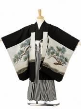 七五三(5歳男袴)sftm124黒地鷲松/黒仙台縦