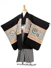 七五三(7歳男袴)sftm138黒地兜/黒仙台縦縞