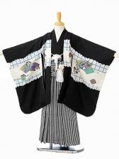 七五三(5歳男袴)sftm097黒地タカ宝船/黒縦縞