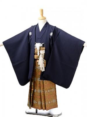 七五三(5歳男袴)sftm251しぶ紺無地/蜀江紋