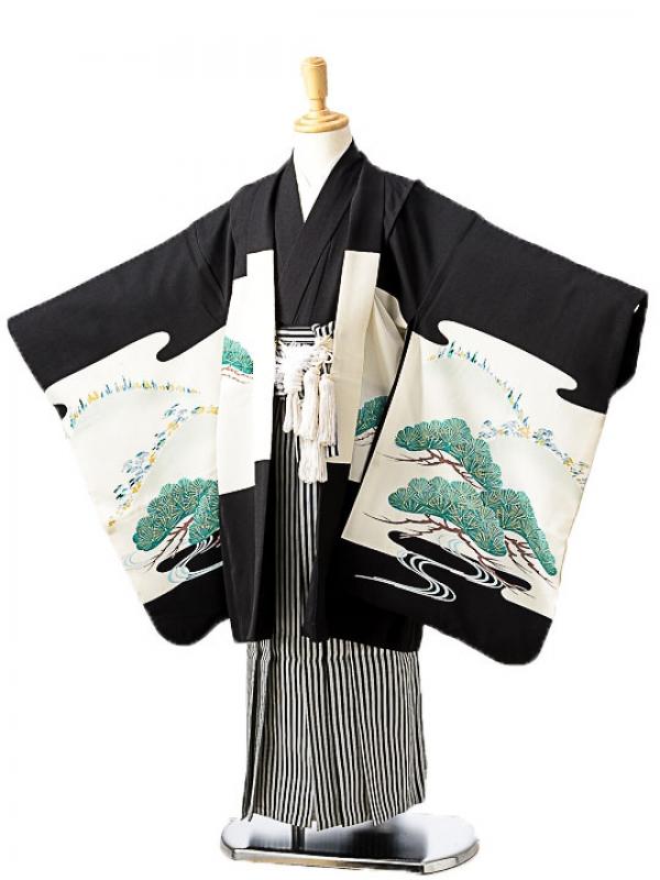 七五三(7歳男袴)sftm260黒地に翔鷹/黒縦縞