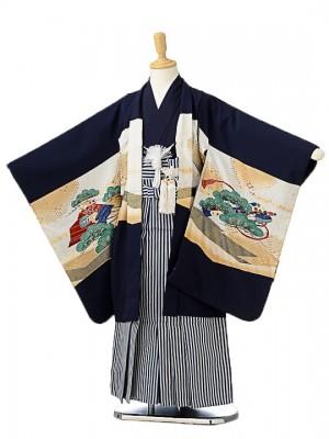 七五三(5歳男袴)sftm163濃紺大鷲/しぶ紺縦