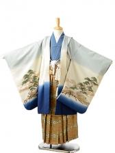 七五三(7歳男袴)sftm261グレーx青地兜/蜀江紋