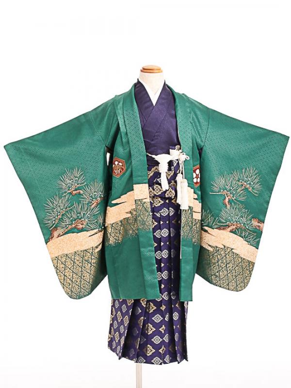 七五三(5歳男袴)sftm062緑地に鷹/紺松皮菱