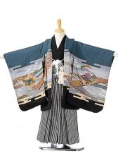 七五三(5歳男袴)sftm067水浅葱色兜/黒縦縞