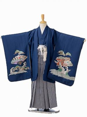 七五三(5歳男袴)sftm087紺地箔宝船/紺縦縞