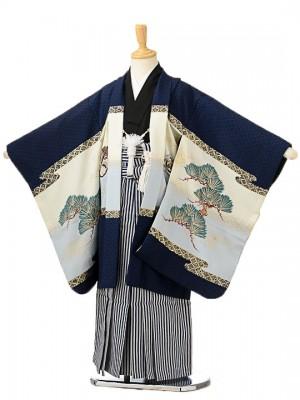 七五三(5歳男袴)sftm180濃紺地鷹鱗/紺縦縞