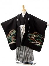 七五三(5歳男袴)sftm191黒地に箔鷹/黒縦縞