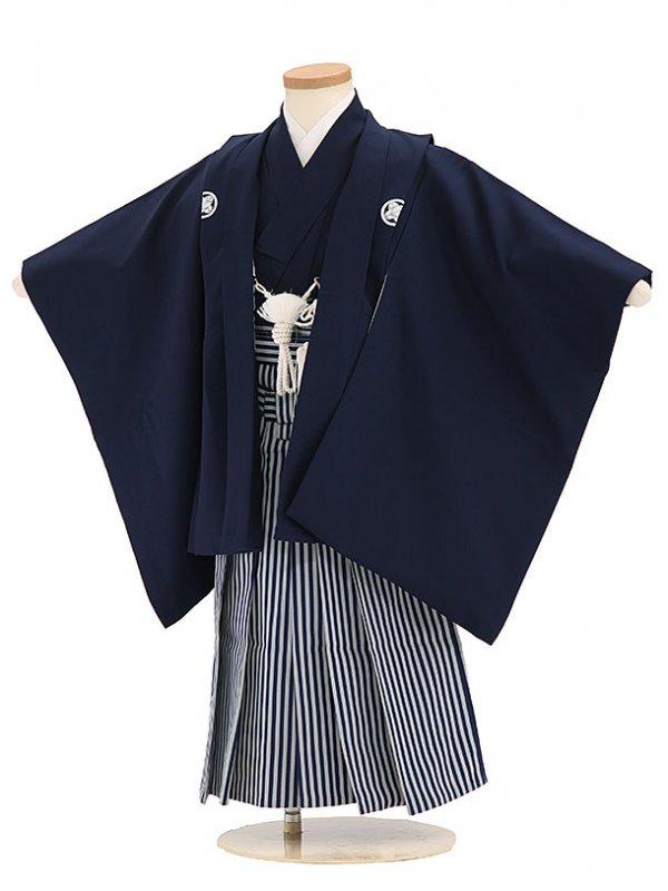 七五三(3歳男袴)sftm303濃紺無地/紺仙台縦