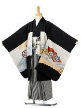 七五三(5歳男袴)sftm164黒地に鷹鼓/黒縦縞