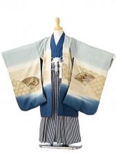 七五三(5歳男袴)sftm133ブルーグレー鷲扇/紺縦