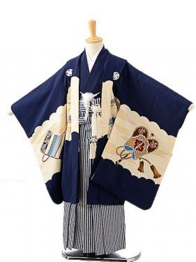 七五三(5歳男袴)sftm217紺地に武将/紺縦縞