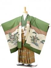 七五三(5歳男袴)sftm230緑地タカ松/蜀江紋