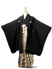 七五三(7歳男袴)sftm281黒無地/菱紋紺ボカシ