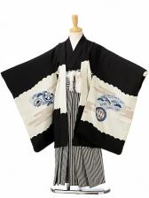 七五三(5歳男袴)sftm121黒地鷹地紙/黒縦縞