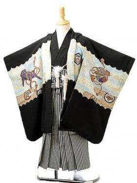 七五三(5歳男袴)sftm239黒地に鷹鼓/黒縦縞