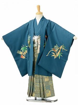七五三(5歳男袴)sftm123青緑地に兜/格子紋