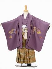 七五三(5歳男袴)sftm073紫地に鷹/蜀江紋袴