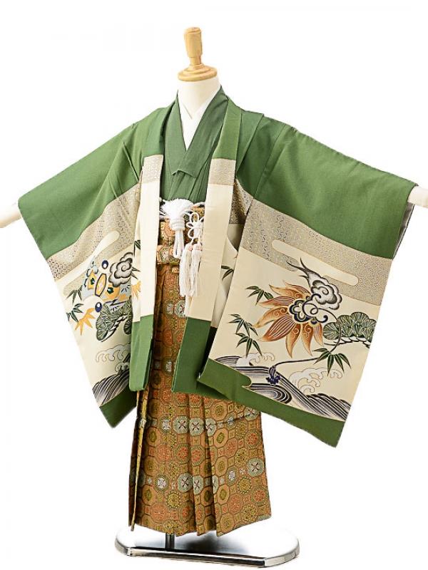 七五三(5歳男袴)sftm220緑地に兜/蜀江紋袴