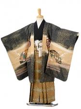 七五三(7歳男袴)sftm143黒地に龍兜/蜀江紋