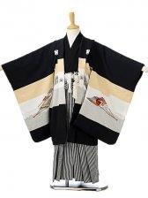 七五三(5歳男袴)sftm126黒地富士兜/黒縦縞