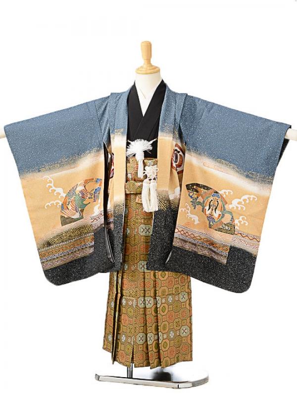 七五三(5歳男袴)sftm135ブルーグレー地兜/蜀江