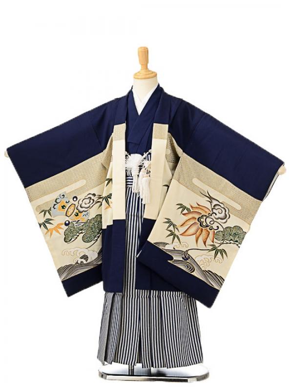 七五三(5歳男袴)sftm168濃紺地龍兜/紺縦縞