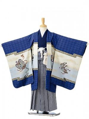 七五三(5歳男袴)sftm063青地兜/紺仙台縦縞