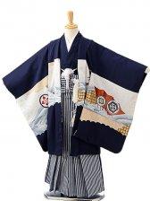 七五三(7歳男袴)sftm272紺地タカ波/紺縦縞