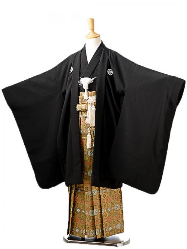 七五三(7歳男袴)sftm283黒無地/蜀江紋袴