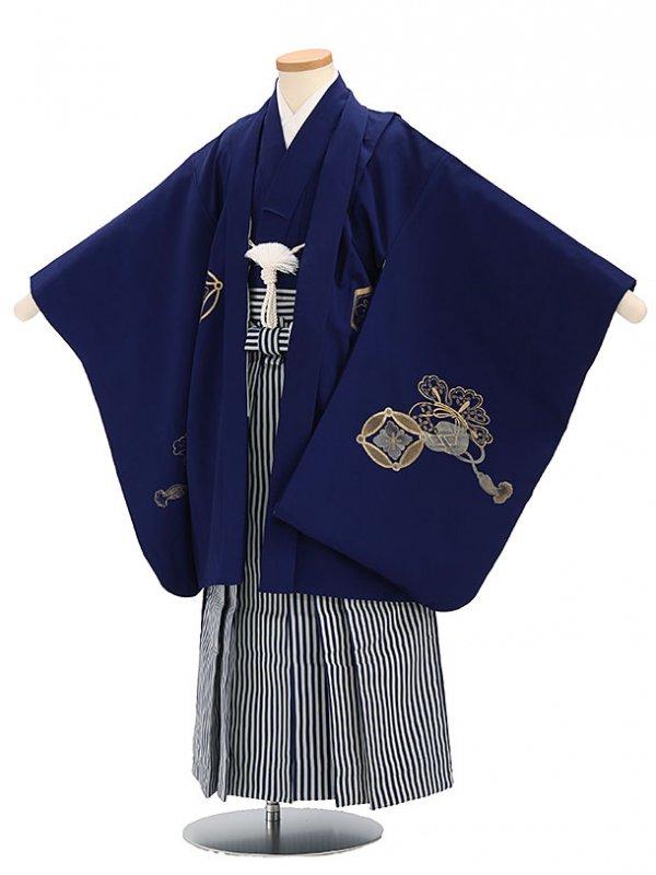 七五三(5歳男袴)sftm095紺地箔鷲/紺仙台縦