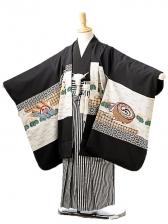 七五三(5歳男袴)sftm242黒地亀甲兜/黒縦縞