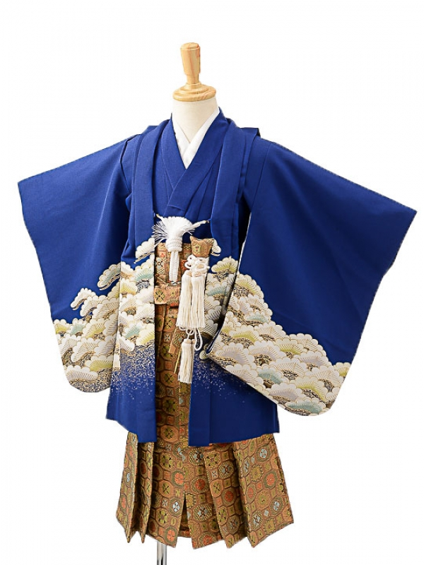 七五三(3歳男袴)sftm202紺地に松鷹/蜀江紋