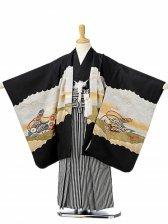 七五三(5歳男袴)sftm120黒地鷹絵巻/黒縦縞