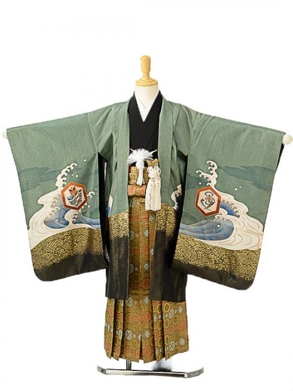 七五三(5歳男袴)sftm065若葉色宝船/蜀江紋