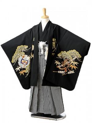 七五三(7歳男袴)sftm155黒地に松兜/黒縦縞