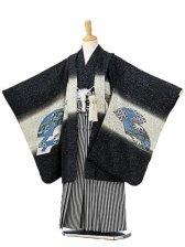 七五三(7歳男袴)sftm142黒地兜扇面/黒縦縞