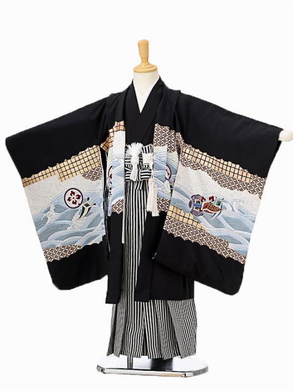 七五三(5歳男袴)sftm076黒地鷹波涛/黒縦縞