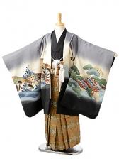 七五三(7歳男袴)sftm147グレー地兜/蜀江紋