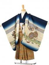 七五三(5歳男袴)sftm176紺地に大鷲/蜀江紋