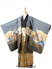 七五三(7歳男袴)sftm262ブルーグレー宝船/蜀江