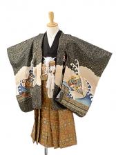 七五三(3歳男袴)sftm205黒地富士宝船/蜀江