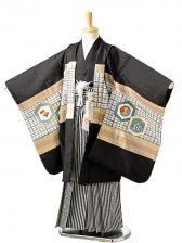 七五三(7歳男袴)sftm257黒地備前兜/黒縦縞