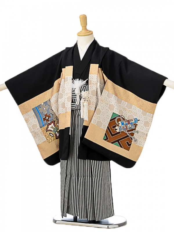 七五三(5歳男袴)sftm167黒地亀甲兜/黒縦縞