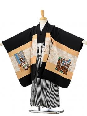七五三(5歳男袴)sftm174黒地亀甲兜/黒縦縞