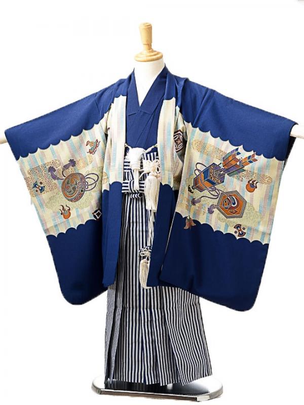 七五三(5歳男袴)sftm236紺地兜小槌/紺縦縞